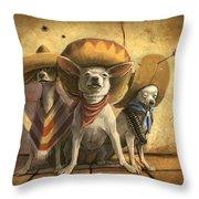 The Three Banditos Throw Pillow by Sean ODaniels