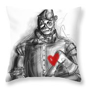 The Tin Man Throw Pillow by Russell Pierce