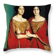 The Two Sisters Throw Pillow by Theodore Chasseriau