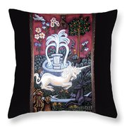 The Unicorn And Garden Throw Pillow by Genevieve Esson