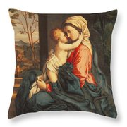 The Virgin and Child Embracing Throw Pillow by Giovanni Battista Salvi