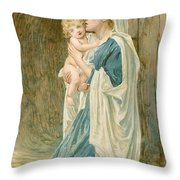 The Virgin Mary With Jesus Throw Pillow by John Lawson
