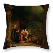 The Visitation Throw Pillow by  Rembrandt Harmensz van Rijn