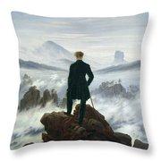 The Wanderer Above The Sea Of Fog Throw Pillow by Caspar David Friedrich