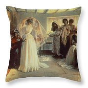 The Wedding Morning Throw Pillow by John Henry Frederick Bacon