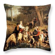 The Wedding Trek Throw Pillow by Adolphe Tidemand