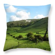The White Horse Westbury England Throw Pillow by Kurt Van Wagner