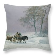 The Wintry Road To Market  Throw Pillow by Thomas Sidney Cooper