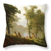 The Wolf River - Kansas Throw Pillow by Albert Bierstadt