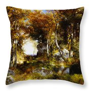 The Woodland Pool Throw Pillow by Thomas Moran