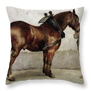The Work Horse Throw Pillow by Otto Bache