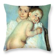 The Young Mother Throw Pillow by Mary Stevenson Cassatt