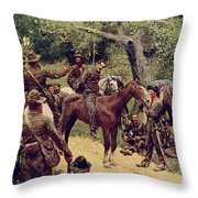 They Talked It Over With Me Sitting On The Horse Throw Pillow by Howard Pyle