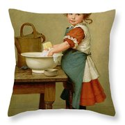 This Is the Way We Wash Our Clothes  Throw Pillow by George Dunlop Leslie