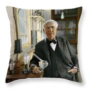 Thomas Edison Throw Pillow by Granger