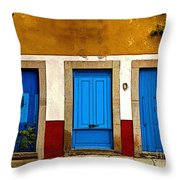 Three Blue Doors 1 Throw Pillow by Mexicolors Art Photography