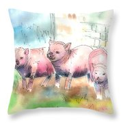 Three Little Pigs Throw Pillow by Arline Wagner
