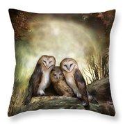 Three Owl Moon Throw Pillow by Carol Cavalaris