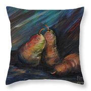 Three Pears Throw Pillow by Nadine Rippelmeyer
