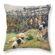 Through the Fence Throw Pillow by Arthur Charles Dodd
