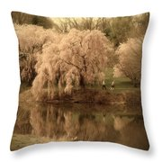 Through The Years - Holmdel Park Throw Pillow by Angie Tirado