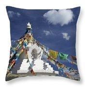 Tibetan Stupa With Prayer Flags Throw Pillow by Michele Burgess