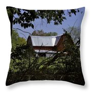 Tin Roofed Barn Throw Pillow by Richard Gregurich