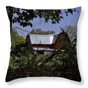 Tin Roofed Barn Throw Pillow by Richard Gregurich