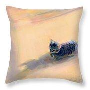 Tiny Kitten Big Dreams Throw Pillow by Kimberly Santini
