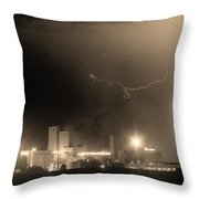 To The Right Budweiser Lightning Strike Sepia  Throw Pillow by James BO  Insogna