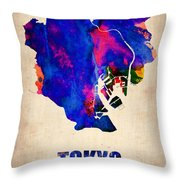 Tokyo Watercolor Map 2 Throw Pillow by Naxart Studio