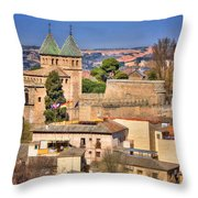 Toledo Town View Throw Pillow by Joan Carroll