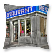 Tom's Restaurant of Seinfeld Fame Throw Pillow by Randy Aveille