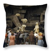 Tourists Watch Captive Polar Bears Throw Pillow by B. Anthony Stewart