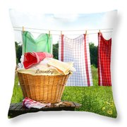 Towels Drying On The Clothesline Throw Pillow by Sandra Cunningham