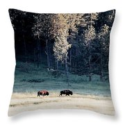 Trail Of Bulls Throw Pillow by Jan Amiss Photography