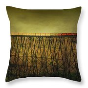 Train Tresle In Lethbridge Throw Pillow by Vickie Emms