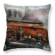 Train - Yard - The train yard II Throw Pillow by Mike Savad