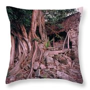 Tree And Ruins In Cozumel Throw Pillow by Thomas Firak