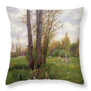 Tree Beside Water  Throw Pillow by Ernest Le Villain