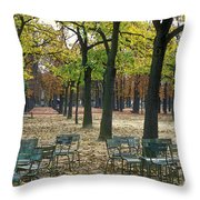 Trees And Empty Chairs In Autumn Throw Pillow by Stephen Sharnoff