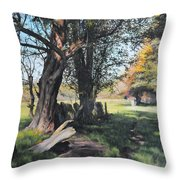 Trees Near Rhug. Throw Pillow by Harry Robertson