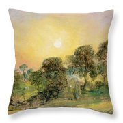 Trees On Hampstead Heath At Sunset Throw Pillow by John Constable