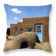 Tres Casitas Taos Pueblo Throw Pillow by Kurt Van Wagner
