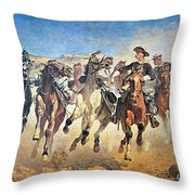 Troopers Moving Throw Pillow by Frederic Remington