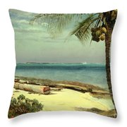 Tropical Coast Throw Pillow by Albert Bierstadt