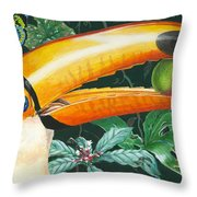 Tropical Rain Forest Toucan Throw Pillow by Richard De Wolfe