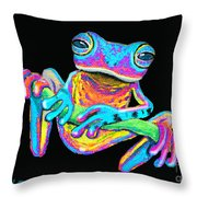 Tropical Rainbow Frog On A Vine Throw Pillow by Nick Gustafson