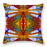 Tropical Stained Glass Throw Pillow by Amy Vangsgard