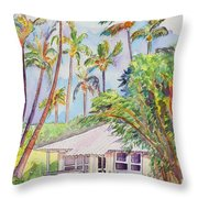 Tropical Waimea Cottage Throw Pillow by Marionette Taboniar